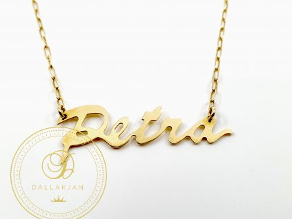 Řetízek, žluté zlato, přívěsek, Petra