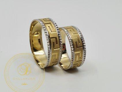 Snubní prsteny s moderními vzory a kombinací bílýho a žlutého zlata (Velikost 67 57)