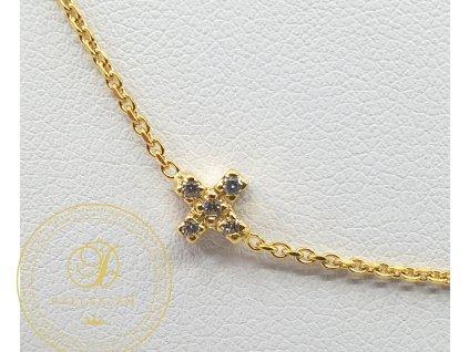 Řetízek, žluté zlato, přívěsek křížek, zirkony