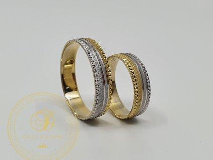 Snubní prsteny v kombinaci bílého a žlutého zlata (Velikost 66 54)