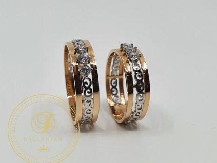 Snubní prsteny kombinovaný s bílým a růžovým zlatem zdobený zirkonem (Velikost 62 55)
