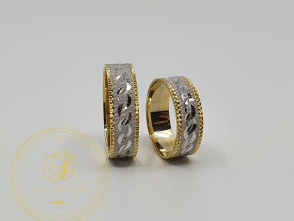 Kombinovaný snubní prsteny se žlutým a bílým zlatem (Velikost 65 53)