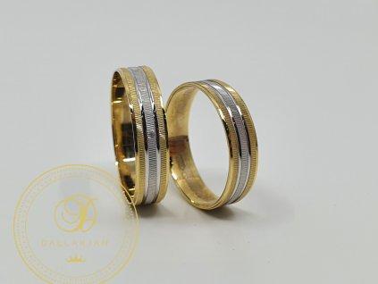 Jemný snubní prsteny kombinované  bílým a žlutým zlatem (Velikost 63 54)