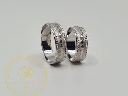 Moderní snubní prsteny z bílého zlata (Velikost 64 56)