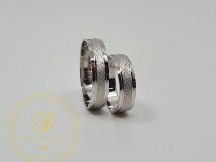 Jemný snubní prsteny z bílého zlata (Velikost 67 54)