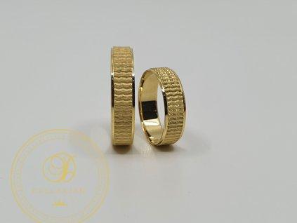 Moderní snubní prsteny ze žlutého zlata (Velikost 68 54)