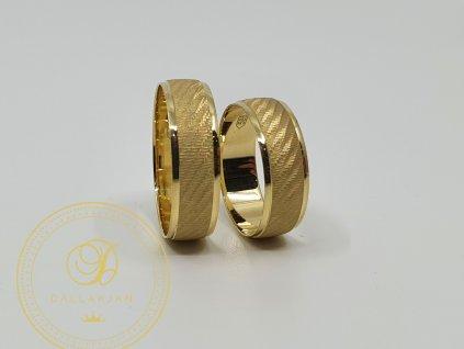 Decentní snubní prsteny ze žlutého zlata (Velikost 63 55)