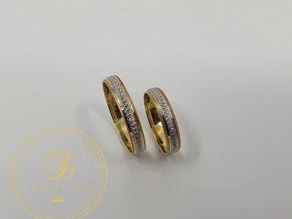 Jemný snubní prsteny kombinované  bílým a žlutým zlatem (Velikost 68 56)