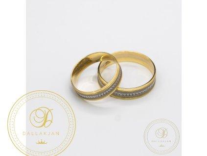 Moderní snubní prsteny kombinované žlutým a bílým zlatem (Velikost 63 54)