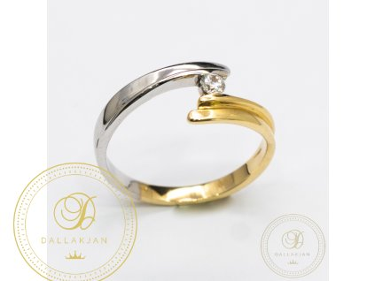 Dámský zlatý prsten kombinovaný s bílým zlatem zdobený zirkonem (Velikost 59)