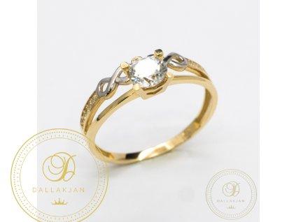 Zásnubní prsten ze žlutého zlata zdobený zirkonem (Velikost 58)