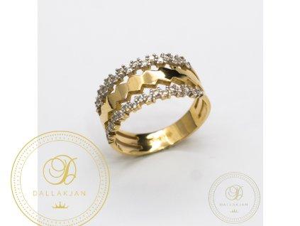 Dámský zlatý prsten zdobený zirkonem (Velikost 56)