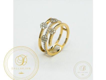 Krásný dámský zlatý prsten se zirkonama (Velikost 52)