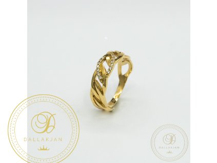 Dámský zlatý prsten ze žlutého zlata s decentní ozdobou zirkonem (Velikost 54)