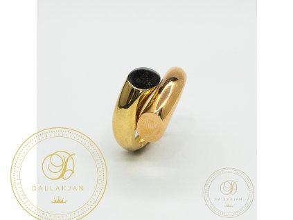 Krásný dámský prsten kombinovaný s růžovým zlatem (Velikost 56)