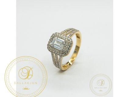 Zásnubní prsten ze žlutého zlata zdobený zirkonem (Velikost 57)