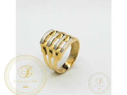 Dámský zlatý prsten kombinovaný s bílým zlatem zdobený zirkonem (Velikost 57)