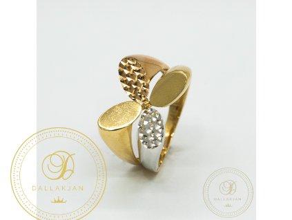 Moderní dámský prsten kombinovaný s bílým zlatem (Velikost 56)
