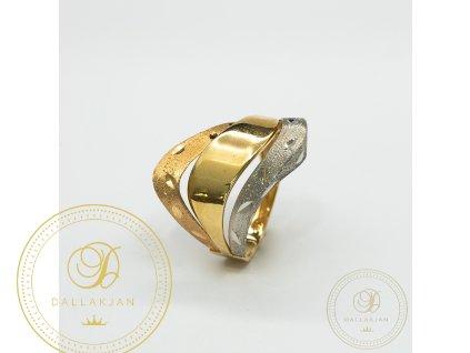 Dámský zlatý prsten kombinovaný s bílým zlatem (Velikost 57)