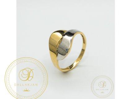 Dámský zlatý prsten kombinovaný s bílým zlatem (Velikost 58)