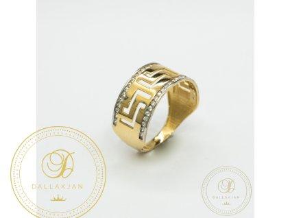 Dámský zlatý prsten ze žlutého zlata se zirkonem (Velikost 58)