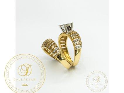 Netradiční dámský dvojprsten kombinovaný ze žlutého a bílého zlata (Velikost 56)
