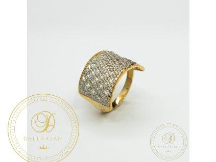 Dámský zlatý prsten ze žlutého zlata se zirkonem (Velikost 66)