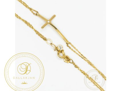Zlatý dámský náramek ze žlutého zlata se symbolem kříž (Délka 21)