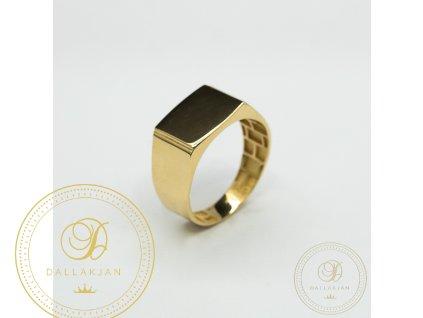 Pánský prsten ze žlutého zlata s hladkým povrchem (Velikost 67)