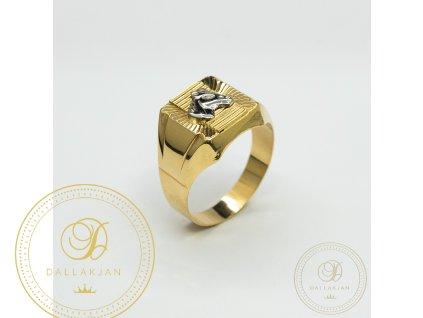 Panský zlatý prsten ze žlutého zlata s hlavou koně z bílého zlata (Velikost 70)