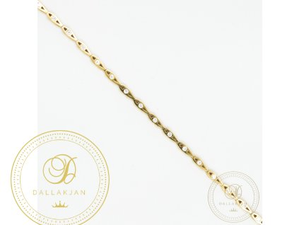 Dámský zlatý náramek ze žlutého zlata zdoben zirkonem (Délka 18)