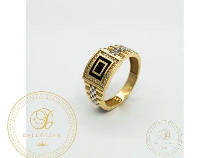 Panský zlatý prsten ze žlutého zlata kombinovaný s bílým zlatem se zirkonem (Velikost 65)