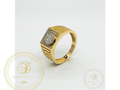 Panský zlatý prsten ze žlutého zlata zdoben zirkonem (Velikost 64)
