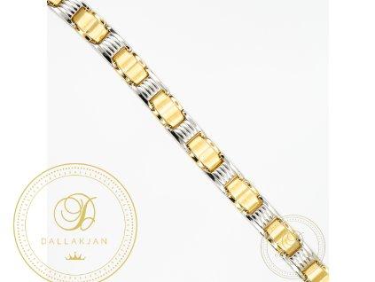 Pánský zlatý náramek ze žlutého zlata kombinovaný s bílým zlatem (Délka 21)