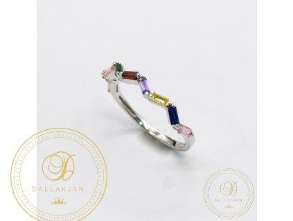 Dámský prsten z bílého zlata s barevným zirkonem (Velikost 56)