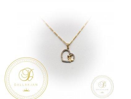 Zlatý řetízek s přívěškem ze žlutého zlata srdce s motýlkem zdoben zirkonem (Délka 45)