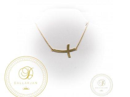 zlatý řetízek s přívěškem ze žlutého zlata s křížem s hladkým povrchem (Délka 46)