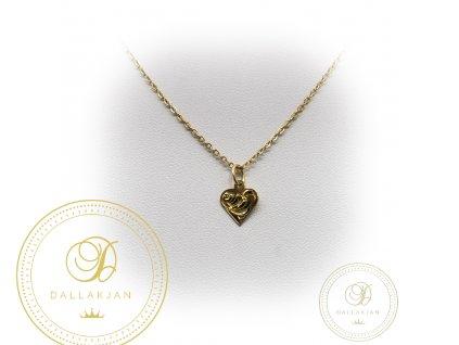 Zlatý řetízek s přívěškem ze žlutého zlata srdce (Délka 48)
