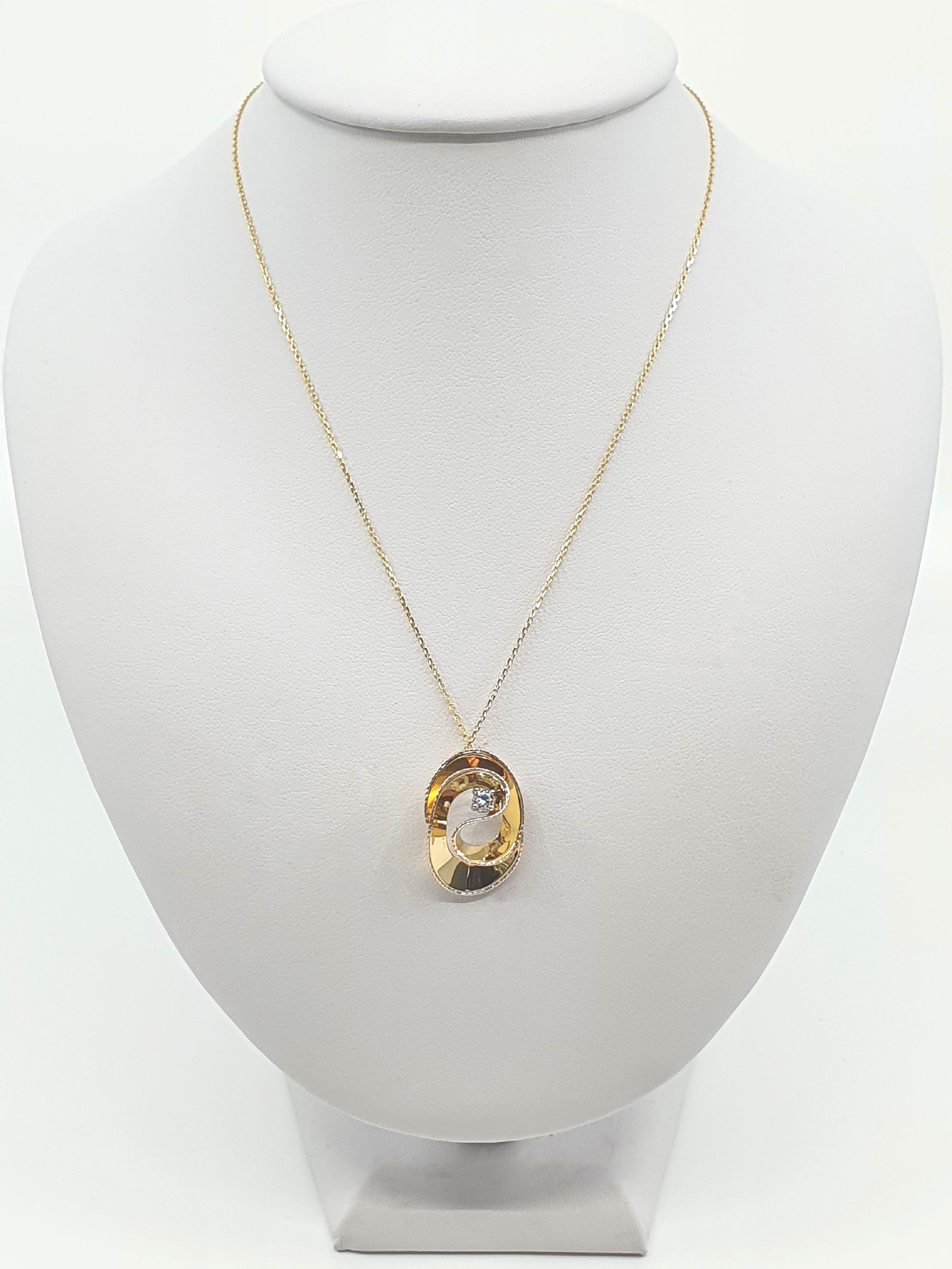 Řetízek, kombinované zlato, zirkon Délka: 45 cm, Váha v g: 2.60, Ryzost: 585/1000
