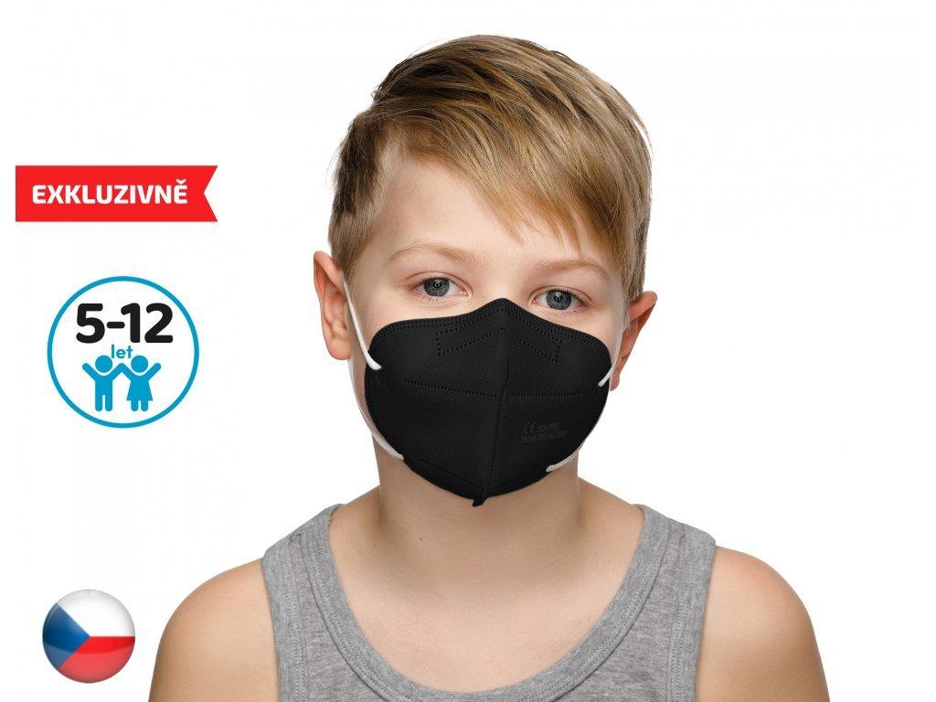 10x Český respirátor FFP2 vhodný pro děti - černý (19,9 Kč/ks)