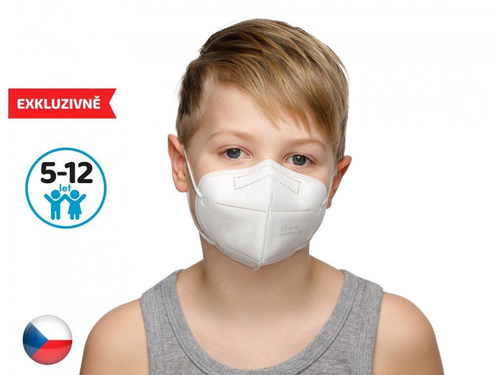 10x Český respirátor FFP2 vhodný pro děti - bílý (13,9 Kč/ks)