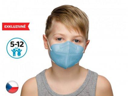 10x Český respirátor FFP2 vhodný pro děti - modrý (19,9 Kč/ks)