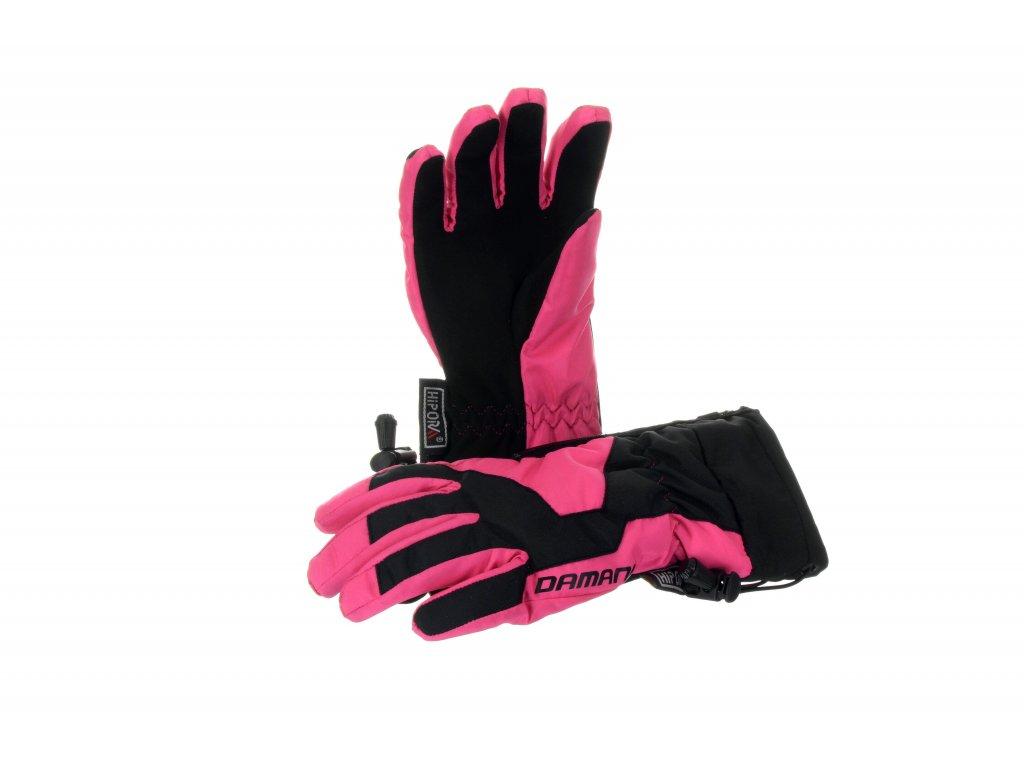 Dětské prstové rukavice Damani RC01 - reflexní růžová (Velikost 10Y)