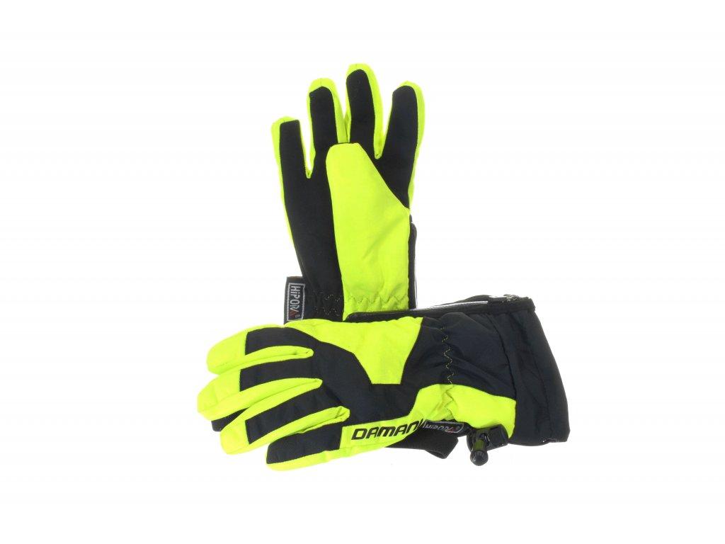 Dětské prstové rukavice Damani RC01 - reflexní žlutá (Velikost 10Y)