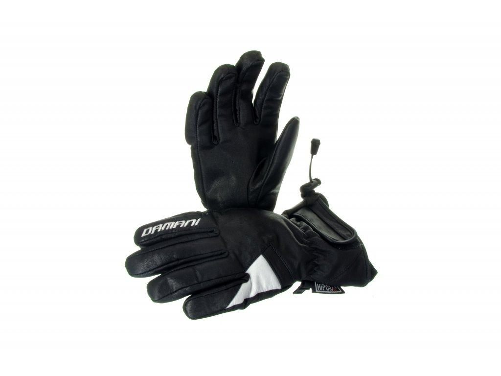 Lyžařské dámské rukavice Damani R05 - celokožené (černo-bílá) (Velikost L)
