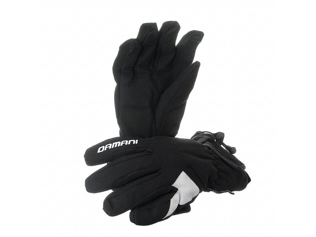 Lyžařské dámské rukavice Damani R06 - látkové (černo-bílá) (Velikost L)