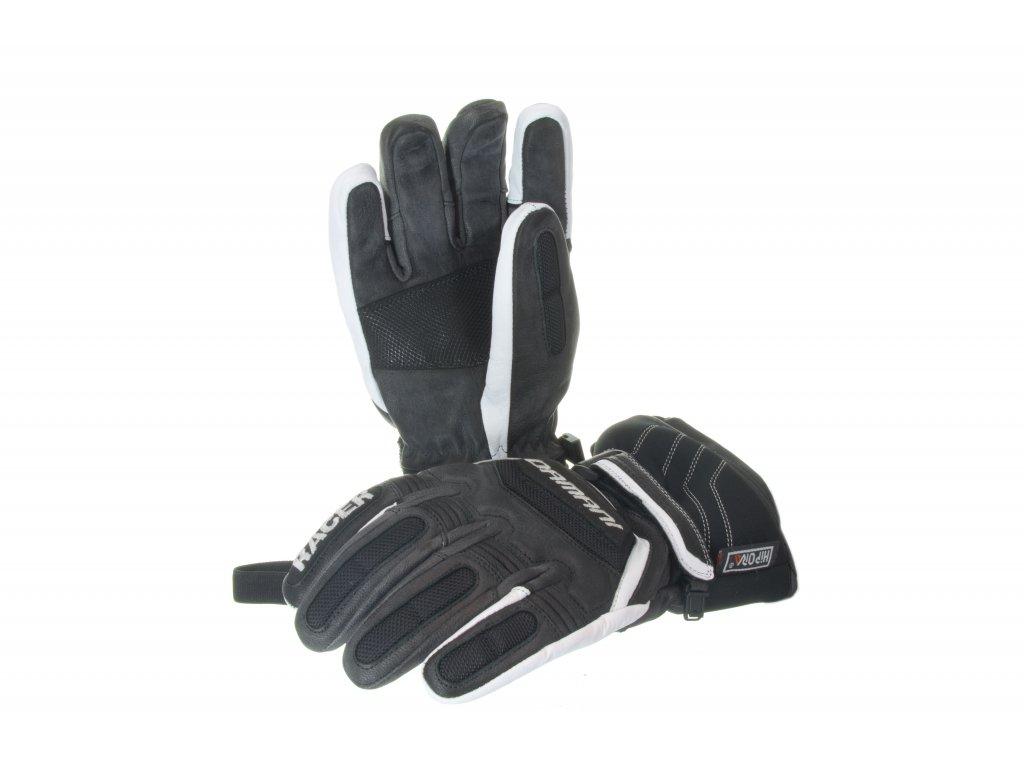 Lyžařské pánské rukavice Damani R01 - TOP celokožené (černo-bílá) (Velikost L)