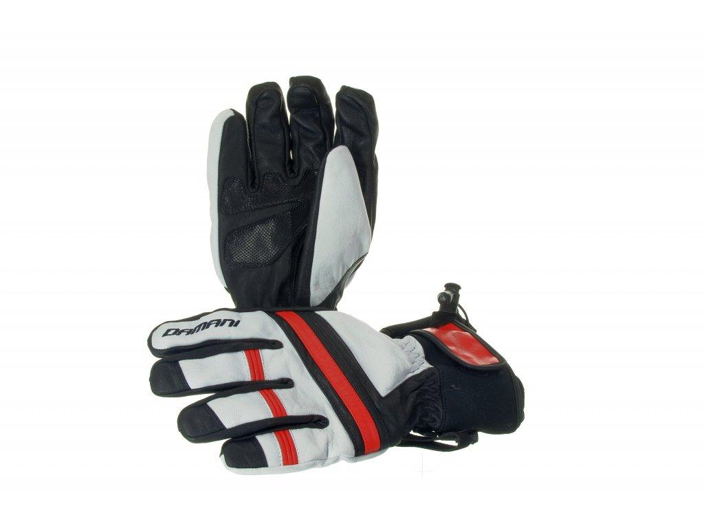 Lyžařské pánské rukavice Damani R03 - SKI celokožené (černo-bílo-červená) (Velikost L)