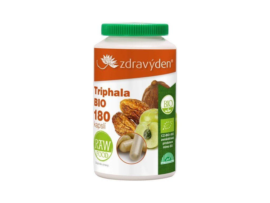 10214 zdravy den triphala raw organic 180 ks vegan kapsli