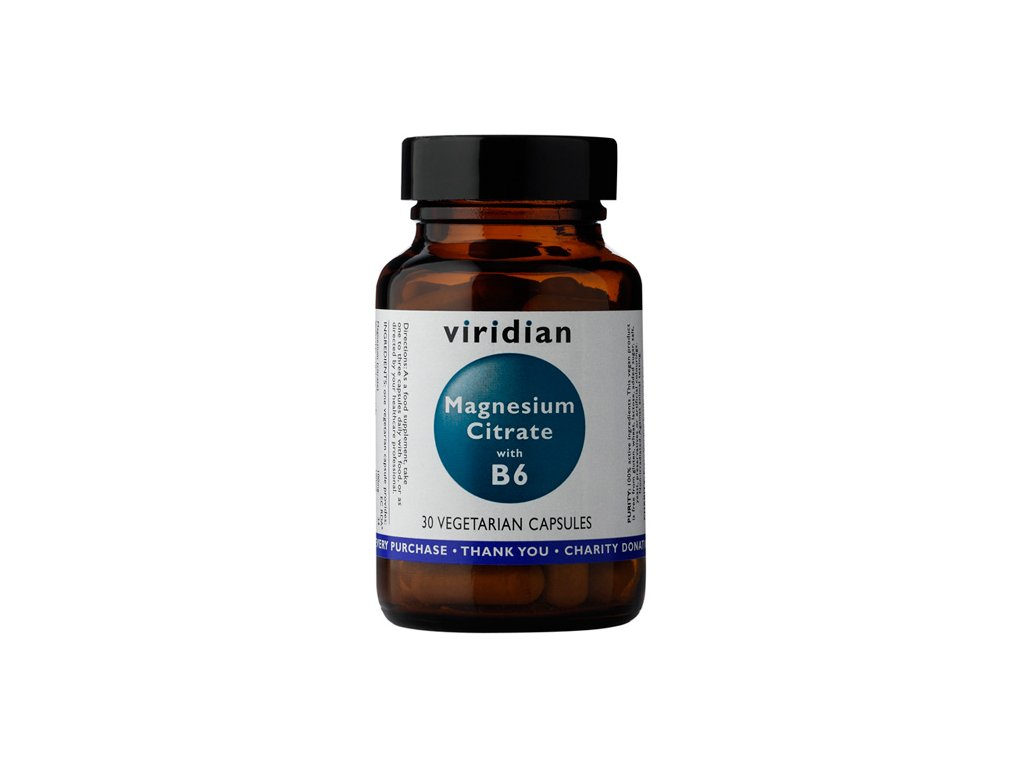Viridian Nutrition Magnesium Citrate with Vitamin B6 90 kapslí